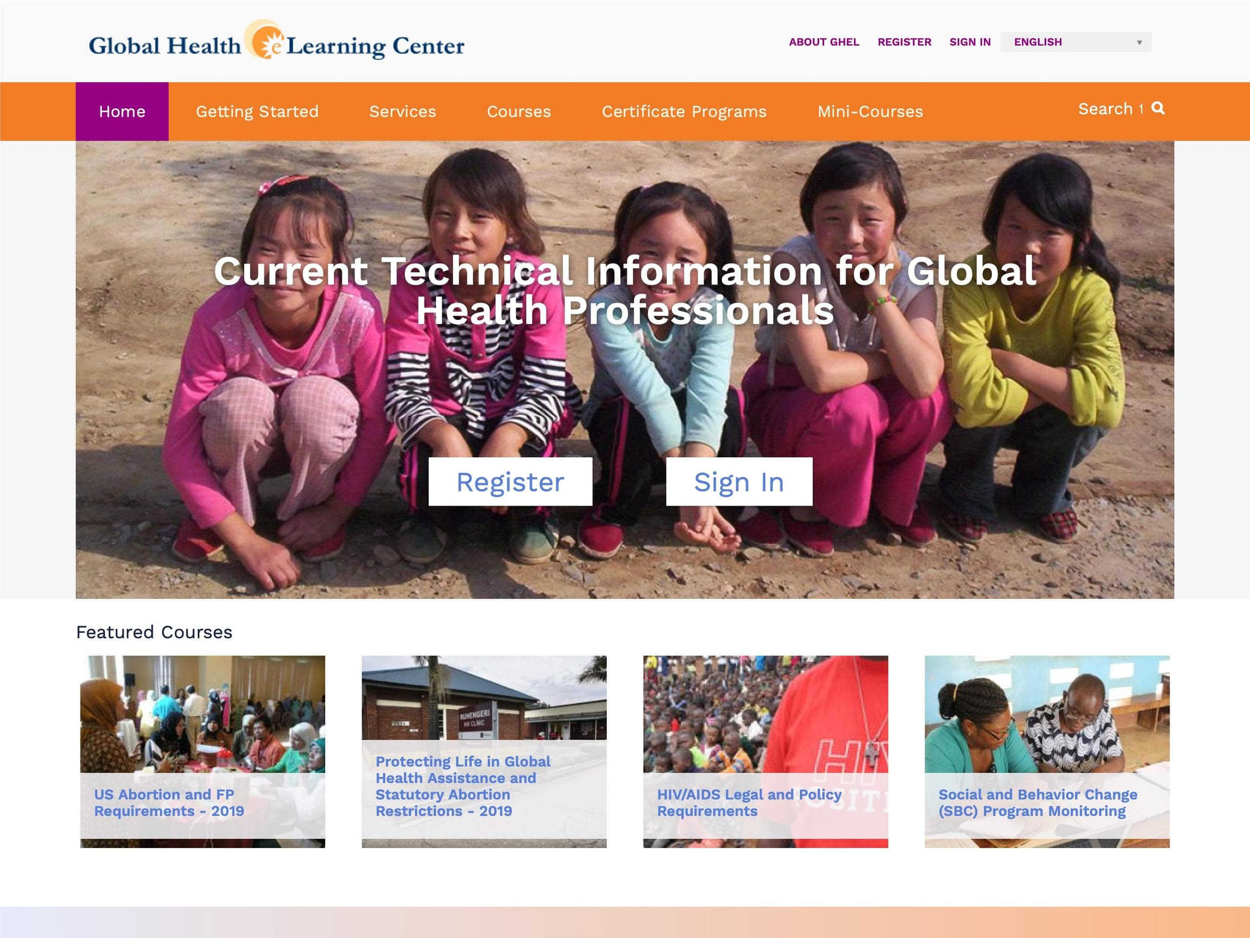 Screen shot of Global Health eLearnibng Center.